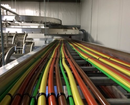 Cable tray with multi-color conduit