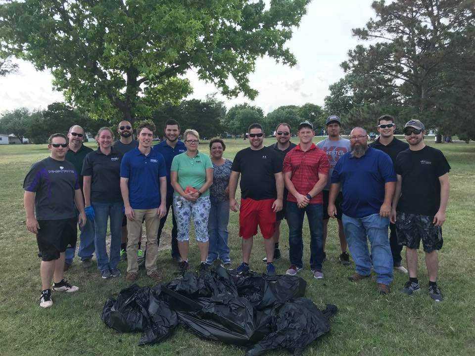 Decker team members volunteering for the Osage Park clean up