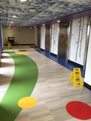 Image inside the colorful hallway of the children's section in Wesley Medical Center