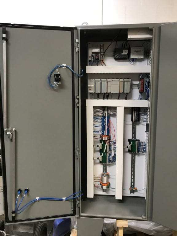 Photo of the inside of an open control panel