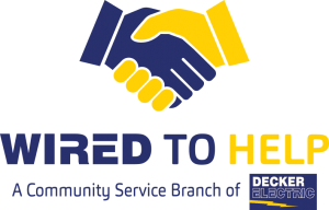 logo for Decker Electric community service in Wichita called Wired to Help