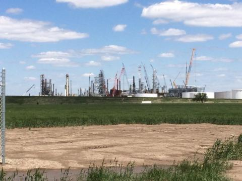 image from far away of construction at a facility