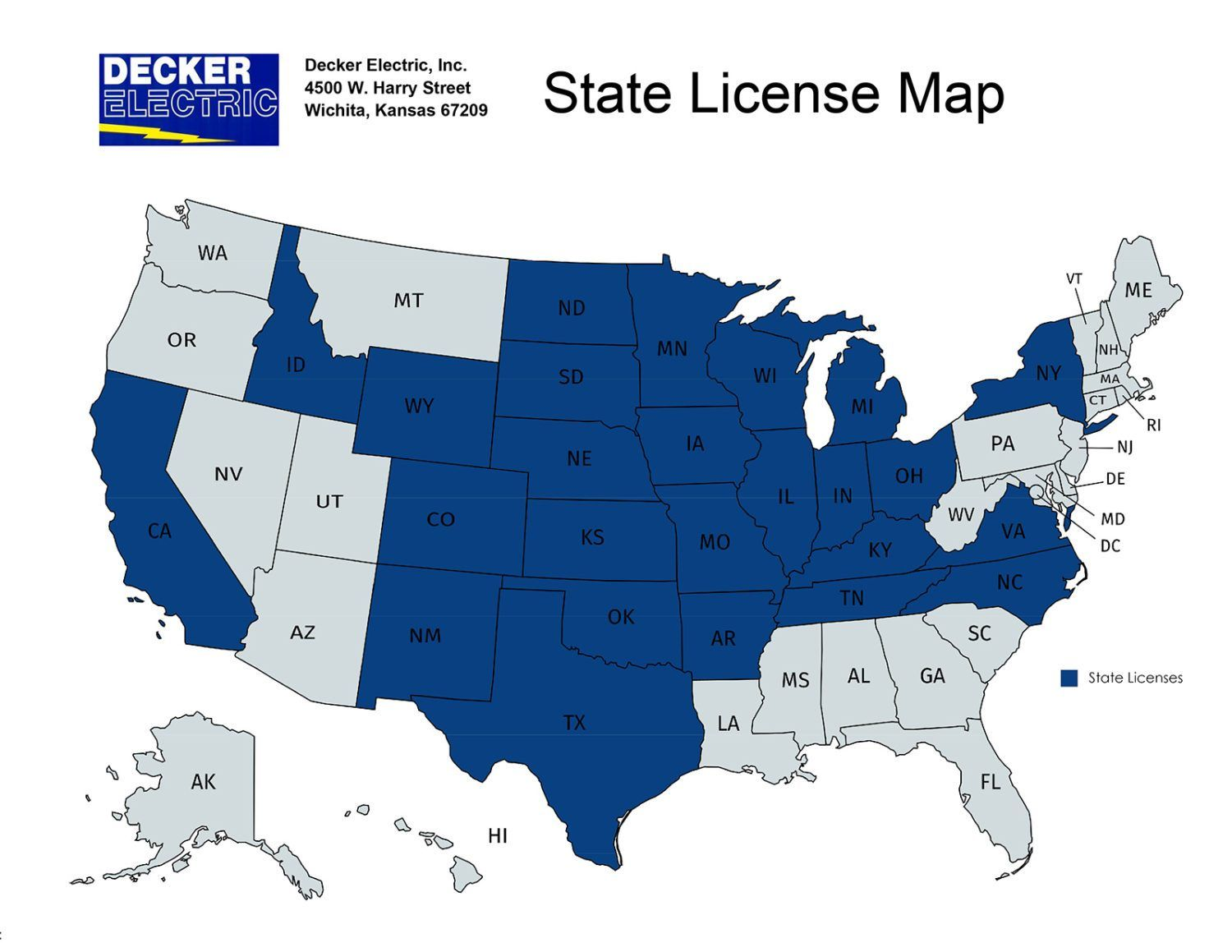 graphic image of US map showing states where Decker Electric is licensed