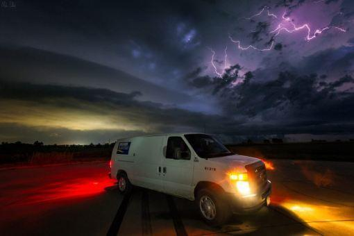 Decker Electric van out in Kansas storm