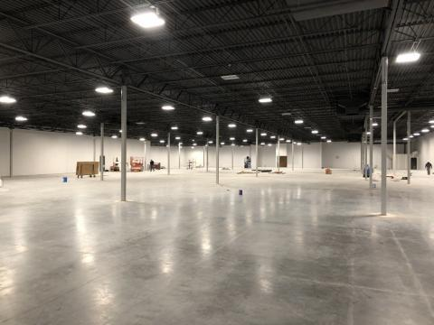 large open facility with electrical lighting work done by Decker Electric