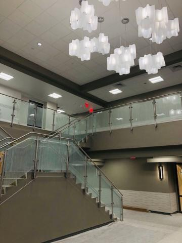 beautiful chandelier lighting at newly constructed facility