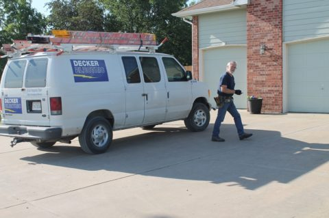 Tech Outside Wichita House 480x319 - Decker Electric Residential Electrical Service